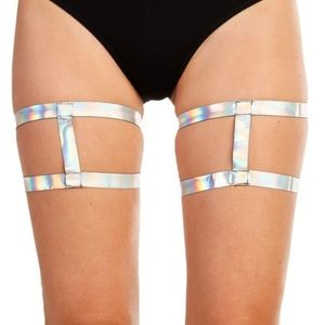 🌺Holographic strappy harness leg garters
